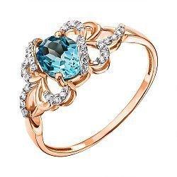 Кольцо в комбинированном цвете золота с голубым топазом и фианитами с родированием 000136969