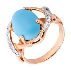 Золотое кольцо Лейла с бирюзой и фианитами