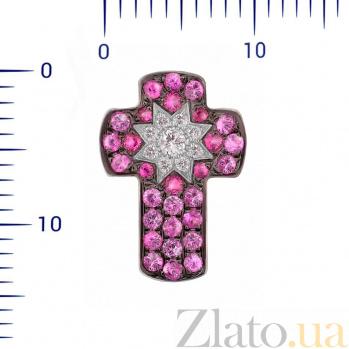 Крестик из белого золота Звездный свет с бриллиантами, рубинами и розовыми сапфирами 000081081