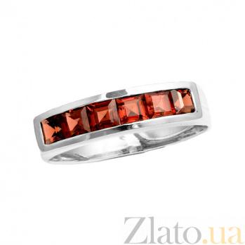 Золотое кольцо в белом цвете с гранатами Меган ZMX--RGn-6121w_K