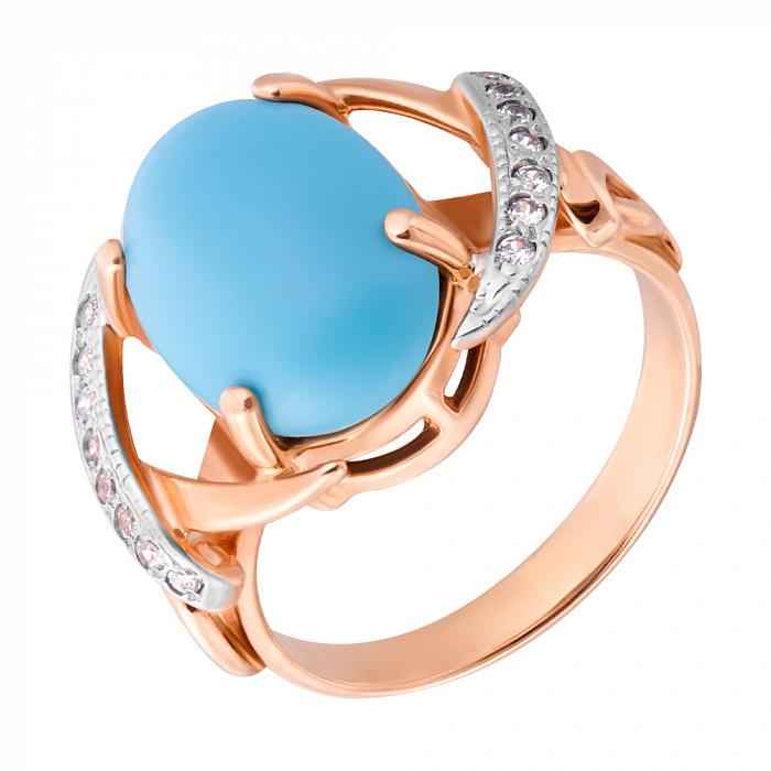 Золотое кольцо Лейла с бирюзой и фианитами 000096292
