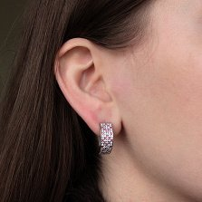 Серебряные серьги Цветочная история с розовыми и белыми фианитами