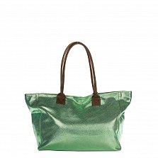 Кожаная сумка на каждый день Genuine Leather 8018 зеленого цвета с коричневыми ручками, на молнии
