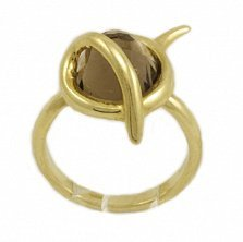 Золотое кольцо Джейн в красном цвете с раухтопазом