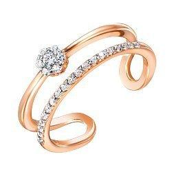 Золотое кольцо в комбинированном цвете с разомкнутой шинкой и фианитами 000122290
