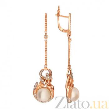 Серьги-подвески из красного золота Королева морей VLT--ТТ2484