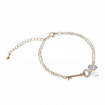 Серебряный браслет Ключик с жемчугом, фианитами и позолотой 000070066