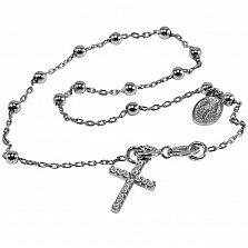 Браслет из белого золота Вера и сила с ладанкой и крестиком с бриллиантами