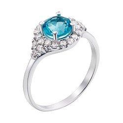 Серебряное кольцо с кварцем и фианитами 000133642