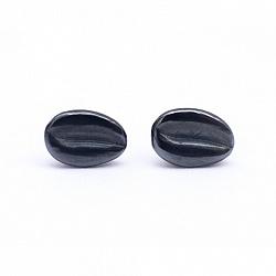 Серебряные серьги-пуссеты Черный кофе с зернышками и чернением