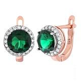 Серебряные серьги с зелеными фианитами Рашель