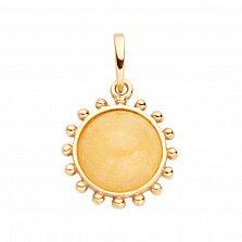 Позолоченная серебряная подвеска Услада в виде солнца с лимонным янтарем