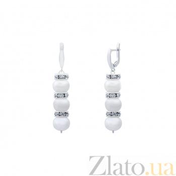 Серебряные серьги с белым жемчугом Блисс AQA--20103Бр