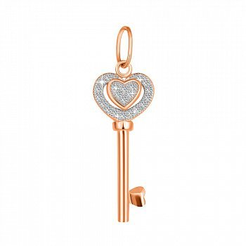 Серебряная подвеска Волшебный ключик с фианитами и позолотой 000045441