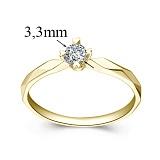 Кольцо из желтого золота с бриллиантом Моя принцесса, 3,3мм