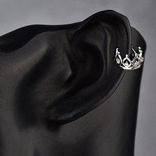 Серебряная серьга-кафф с бриллиантами Барбара