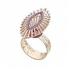 Кольцо в красном золоте Феникс с родолитом и сапфирами