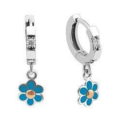 Серебряные серьги-подвески с золотыми накладками, голубой эмалью, цирконием и родием 000099545