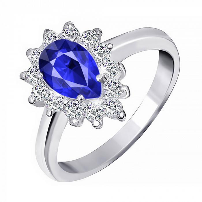 Серебряное кольцо с синим фианитом Пенелопа 000028358