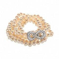 Жемчужное ожерелье Алания с серебряной вставкой в усыпке фианитов, диам.7,0-7,5мм