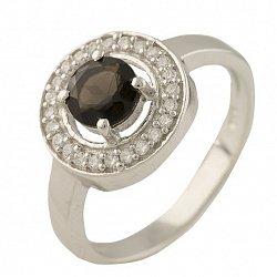 Серебряное кольцо Вэнди с раухтопазом и фианитами