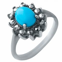 Серебряное кольцо Русалина с бирюзой и марказитами 000076880