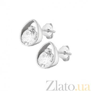 Серебряные сережки-пуссеты с цирконием Зернышко SLX--С2Ф/483