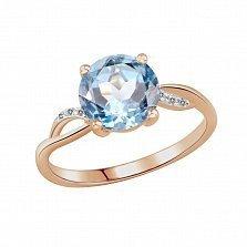 Золотое кольцо Анна с голубым топазом и бриллиантами