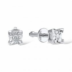 Золотые серьги-пуссеты Шейла в белом цвете с бриллиантами и насечкой