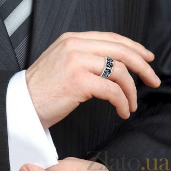 Мужское обручальное кольцо из белого золота с эмалью Талисман: Мира 3133