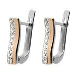 Серебряные серьги с золотыми вставками Серена