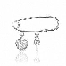 Серебряная булавка Ключ к сердцу с фианитами