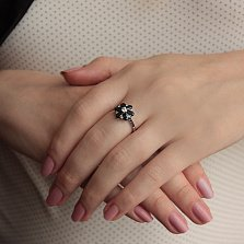 Золотое кольцо с бриллиантами и сапфирами Мелисента