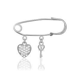 Серебряная булавка Ключ к сердцу с фианитами 000039492