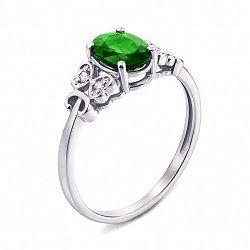 Кольцо из белого золота с изумрудом и бриллиантами 000136713