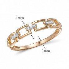Кольцо из красного золота Итака с бриллиантами