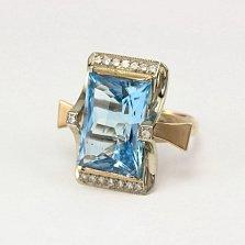 Золотое кольцо с голубым топазом и фианитами Сан-Франциско