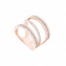 Золотое кольцо на фалангу Флоренция с фианитами