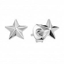 Серебряные серьги-пуссеты Пятиконечная звезда в минималистичном стиле