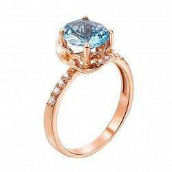 Золотое кольцо Акулина в красном цвете с голубым топазом и фианитами