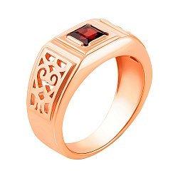 Перстень-печатка из красного золота с гранатом 000133383