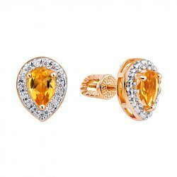 Золотые серьги-пуссеты в комбинированном цвете с цитринами и фианитами 000135457