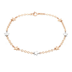 Золотой браслет в комбинированном цвете со вставками-звездами 000095055