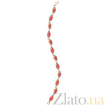 Золотой браслет с рубинами и бриллиантами Розовый вечер KBL--БР020/крас/руб