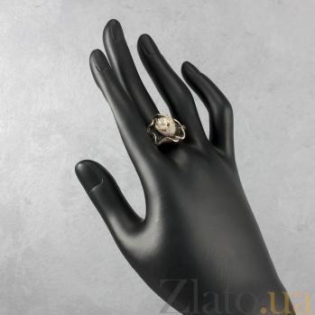 Кольцо из красного золота Царевна-лягушка с жемчужиной и фианитами VLT--ТТ1020-2