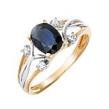 Золотое кольцо Мириам с сапфиром и бриллиантами