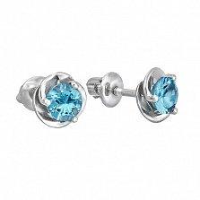 Серебряные пуссеты с голубым кварцем Подарок