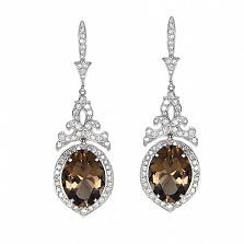 Золотые серьги с бриллиантами и раухтопазами Bliss