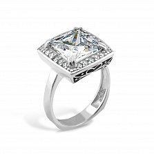 Серебряное кольцо Михалина с фианитами и черной эмалью