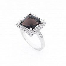 Серебряное кольцо Леонарда с раухтопазом и фианитами
